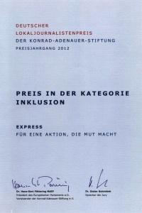Urkunde 'Deutscher Lokaljournalistenpreis' Linda Katharina Klein