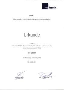 Urkunde: Beste Journalistin - Linda Katharina Klein