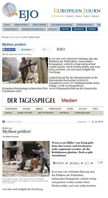 Tagesspiegel und das Europäische Journalismus-Observatorium (EJO) berichten über die Bachelor-Arbeit von Linda Katharina Klein.